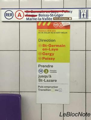 Affiche sur les changements liés au chantier du RER A