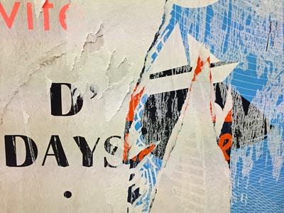 Assemblage constitué de diffférentes affiches déchirées