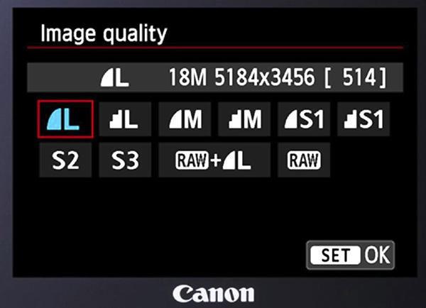Écran arrière d'un réflex Canon proposant de choisir le format RAW