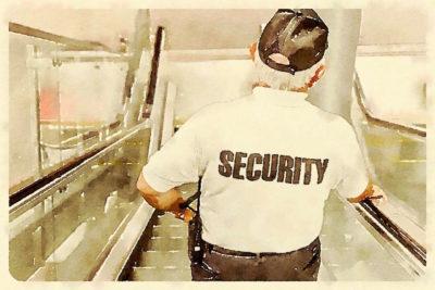 Personnel de sécurité vu de dos